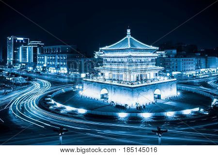 xian bell tower at night ancient city with blue tone China