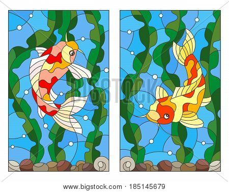 A set of stained-glass illustrations with koi carp fish on the background of water algae and air bubbles