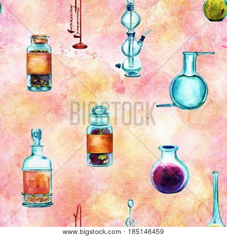 Vintage Science seamless background pattern with chemistry objects. Jars, bottles, containers, apparatuses, hand painted in watercolours on a pink background, forming a repeat print