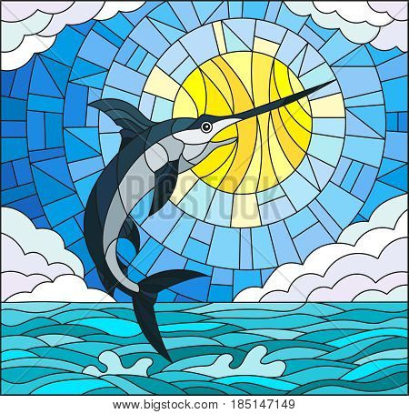Illustration in stained glass style with a fish swordfish on the background of water cloud sky and sun