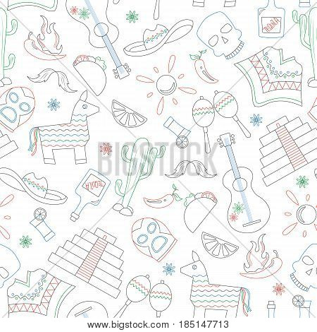 Seamless pattern on the theme of recreation in the country of Mexico contour icons are drawn with colored markers on white background
