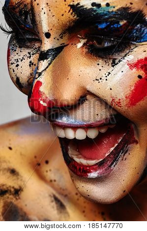 Laughing crazy Clown colorful Halloween Make-up Concept
