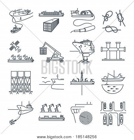 set of thin line icons water transport and sea port container ship tug