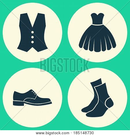 Garment Icons Set. Collection Of Half-Hose, Waistcoat, Sarafan And Other Elements. Also Includes Symbols Such As Footwear, Garment, Half-Hose.