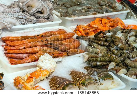 Seafood and shellfish for sale at a market