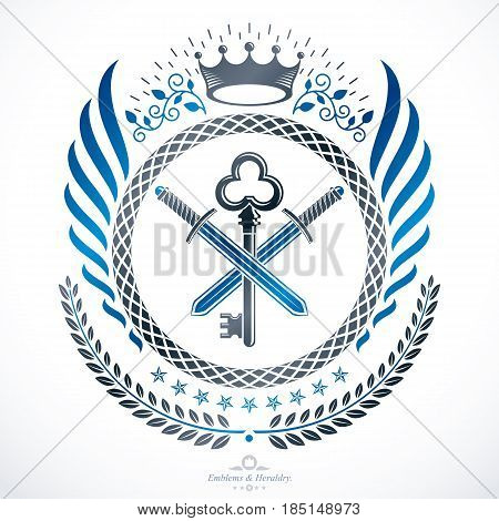 Vintage heraldic vector decorative emblem composed using royal crown and eagle wings .