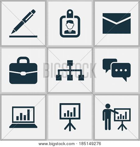 Trade Icons Set. Collection Of Presentation Board, Chatting, Suitcase And Other Elements. Also Includes Symbols Such As Chart, Handbag, Hierarchy.