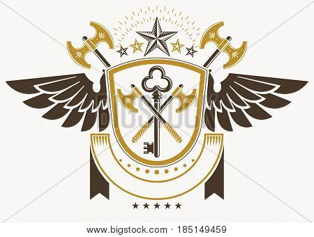 Vintage decorative heraldic vector emblem composed with hatchets and pentagonal stars