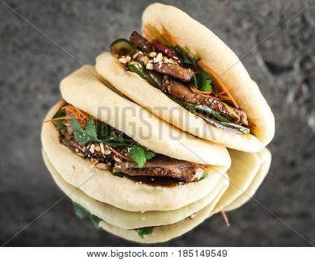 Bao bun steamed sandwich with duck breast, gua bao