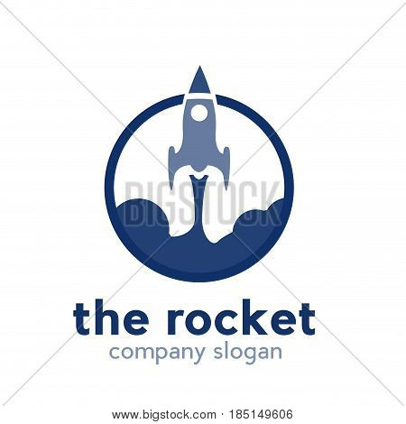 Vector sign abstract takeoff rocket, isolated illustration on white