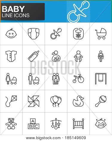 Baby line icons set outline vector symbol collection linear style pictogram pack. Signs logo illustration. Set includes icons as baby face pacifier nappy crib family father mother bicycle