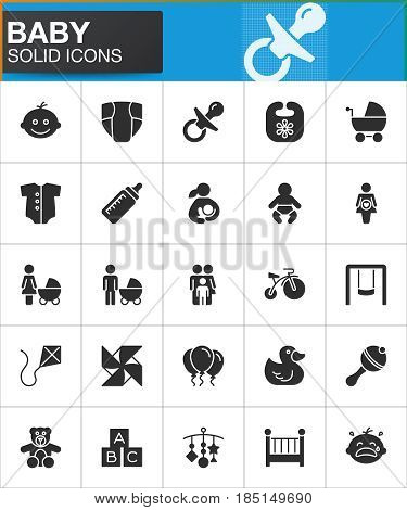Baby children vector icons set modern solid symbol collection filled style pictogram pack. Signs logo illustration. Set includes icons as baby face pacifier nappy crib family father mother