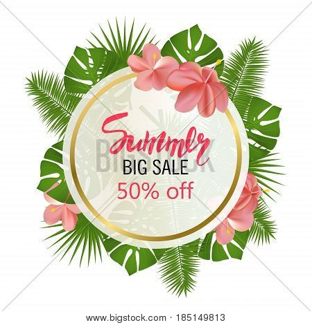 Summer Big Sale. Round summer sale tropical leaves frame. Tropical flowers leaves and plants background