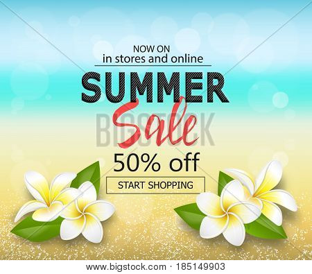 Summer big sale background with tropical flowers. Travel template with blurred effect for design banner