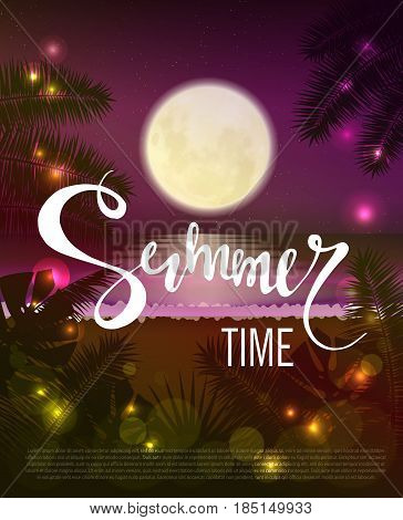Summer time. Beautiful tropical background. The night sky the ocean big moon and stars. Vector illustration eps 10 format. Vector illustration template banners. Wallpaper flyers posters