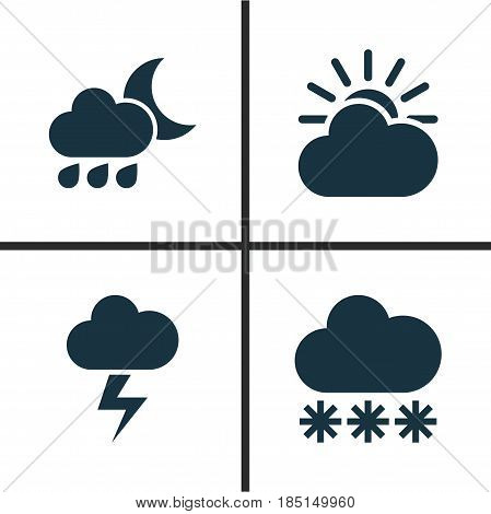 Meteorology Icons Set. Collection Of Sun-Cloud, Lightning, Snowy And Other Elements. Also Includes Symbols Such As Cold, Lightning, Cloud.