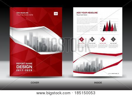 Brochure template layout Red cover design annual report magazine flyer or booklet in A4 polygon background infographics presentation advertisemant poster catalog