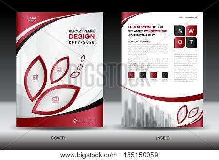 Business Brochure flyer templater Red cover design annual report Book Magazine ads company Profile layout in A4 size poster catalog leaflet newsletter Advertisement presentation infographics leaf icon poster
