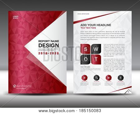 Business brochure flyer template in A4 size Red Cover design Annual report magazine ads catalog layout vector