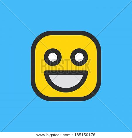 Happy smile Grinning Face emoji. Filled outline icon colorful vector emoticon