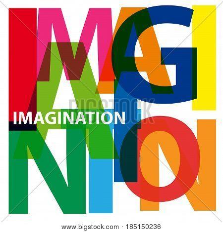 Vector Imagination. Broken text, isolated illustration on white