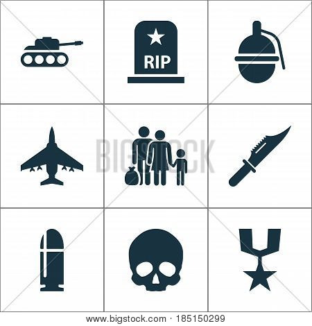 Army Icons Set. Collection Of Order, Fugitive, Aircraft And Other Elements. Also Includes Symbols Such As Knife, Grave, Aircraft.