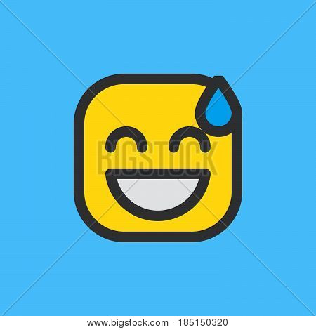 Smiling Face With Open Mouth & Cold Sweat emoji. Filled outline icon colorful vector emoticon