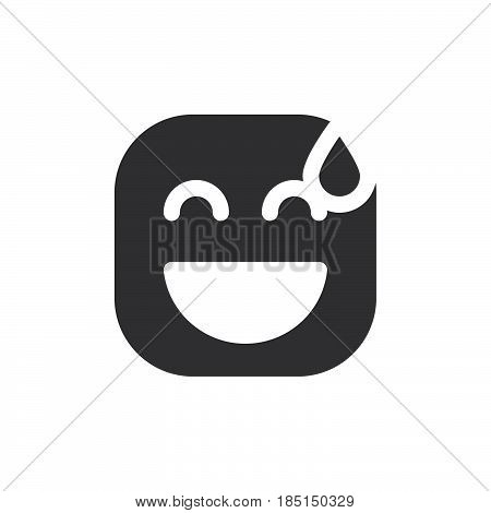 Smiling Face With Open Mouth & Cold Sweat emoji. glyph icon vector emoticon