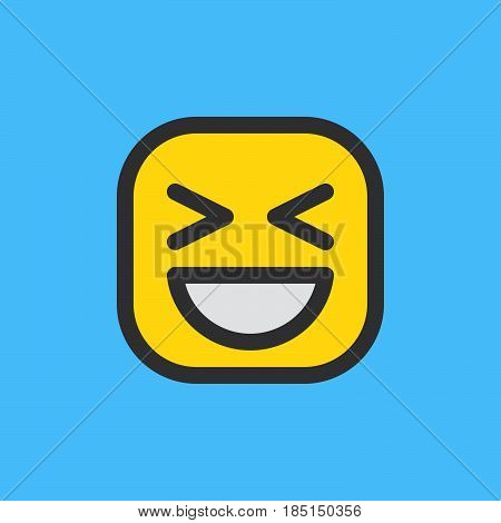 Smiling Face With Open Mouth & Closed Eyes emoji. Filled outline icon colorful vector emoticon