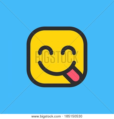 Face Savouring Delicious Food hungry emoji. Filled outline icon colorful vector emoticon