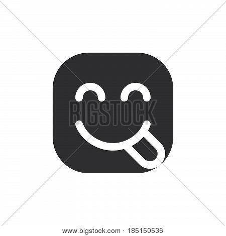 Face Savouring Delicious Food hungry emoji. glyph icon vector emoticon