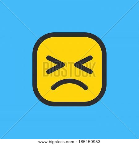 Persevering Face Helpless Face emoji. Filled outline icon colorful vector emoticon