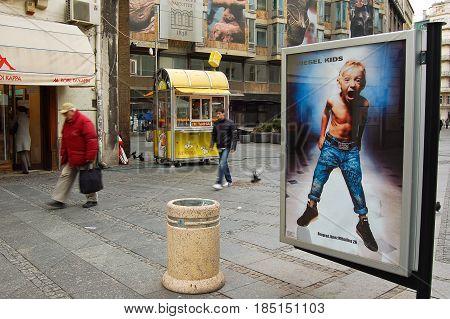 21 march 2009-belgrado-serbia-The main street in the city of belgrade in serbia