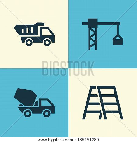Construction Icons Set. Collection Of Cement Vehicle, Lifting Hook, Stair And Other Elements. Also Includes Symbols Such As Stepladder, Hook, Stair.