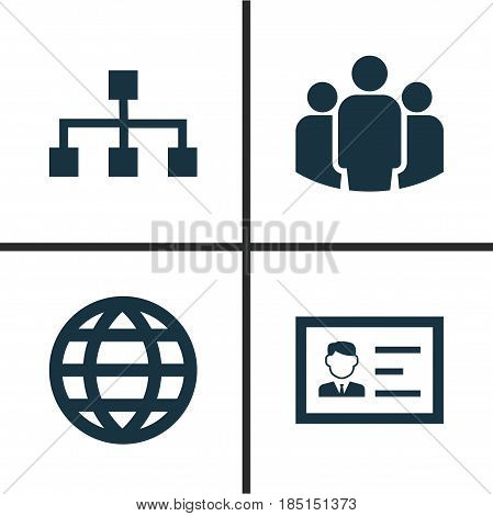 Business Icons Set. Collection Of Identification, Hierarchy, Group And Other Elements. Also Includes Symbols Such As Identification, Chart, Hierarchy.
