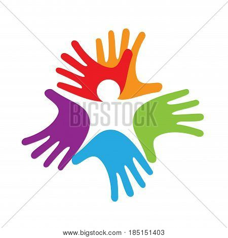 baby inside hands solidarity concept, isolated illustration on white