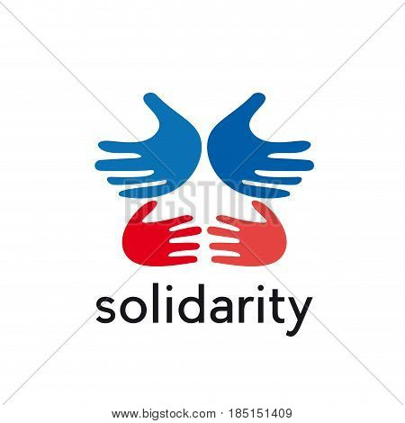 vector sign hands solidarity concept, isolated illustration on white