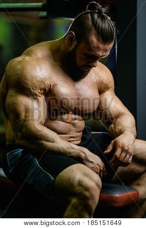 Handsome Fit Caucasian Muscular Man Flexing His Muscles In Gym