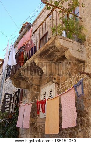 26 march 2009-Dubrovnick-croazia- Washed cloths drifted over the balconies in the city of dubrovnik