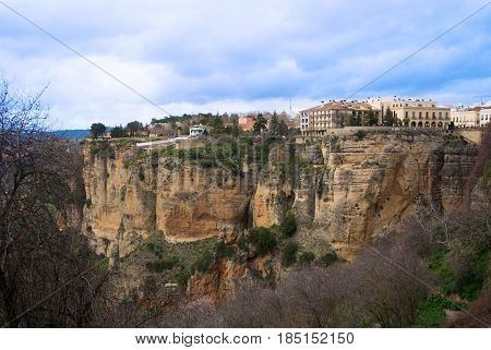 Panoramic View Of Ronda Town Over The Tajo Gorge, Andalusia, Spain.