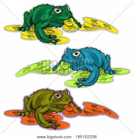 Toad sitting on a large coin mountain