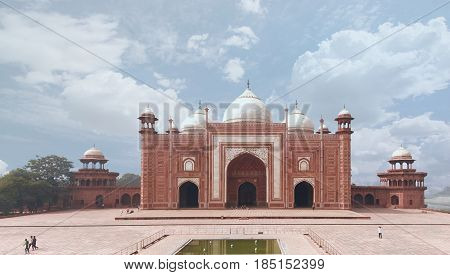 Taj Mahal Mosque Masjid view Agra Uttar Pradesh state India