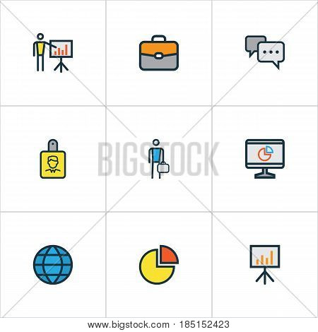 Business Colorful Outline Icons Set. Collection Of Worker, Conversation, Circle Stats And Other Elements. Also Includes Symbols Such As Diagram, Businessman, Bag.