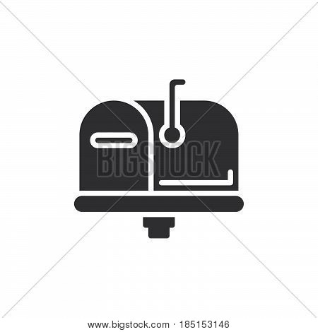 Mailbox closed flag up icon vector filled flat sign glyph style pictogram isolated on white. Symbol logo illustration. Pixel perfect