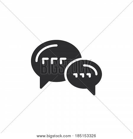 Speech balloons chat icon vector filled flat sign glyph style pictogram isolated on white. Forum symbol logo illustration. Pixel perfect
