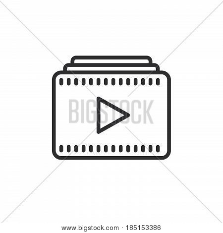Video playlist outline icon line vector sign linear style pictogram isolated on white. Symbol logo illustration. Editable stroke. Pixel perfect