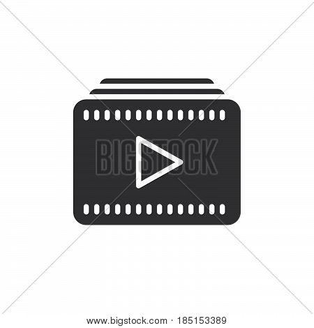 Video playlist icon vector filled flat sign glyph style pictogram isolated on white. Symbol logo illustration. Pixel perfect