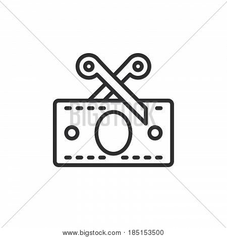 Scissors and money banknote outline icon line vector sign linear style pictogram isolated on white. Tax symbol logo illustration. Editable stroke. Pixel perfect