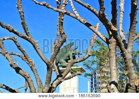 VALENCIA, SPAIN - JANUARY 31, 2016: Fresh pruned trees brunches at the park of Turia gardens