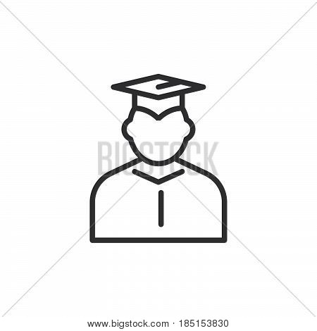 Student in mantle and graduation cap outline icon line vector sign linear style pictogram isolated on white. Symbol logo illustration. Editable stroke. Pixel perfect